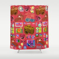 vintage camera Shower Curtains featuring vintage camera by Wibowo Vector