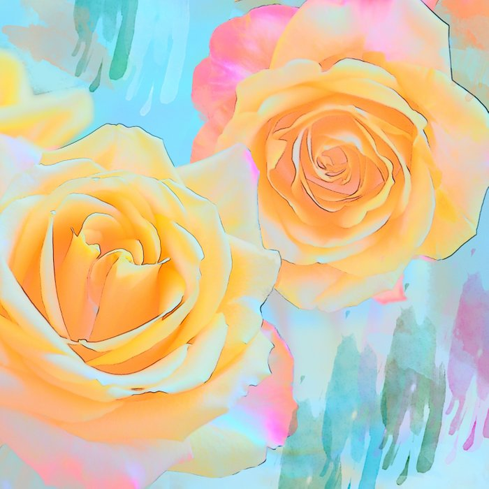 Pastel roses on an abstract water colour background Comforters