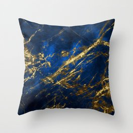 Blue Faux Marble With Gold Strike Veins Throw Pillow
