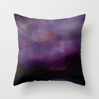 night sky Throw Pillows featuring Night Sky by Ale Ibanez