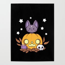 Pumpkin Cats Son // Black Poster