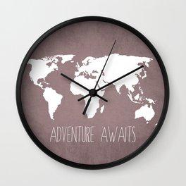Adventure Awaits World Map Wall Clock