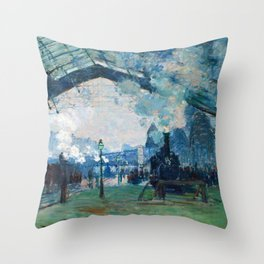 Arrival of the Normandy Train, Gare Saint-Lazare - Claude Monet Throw Pillow