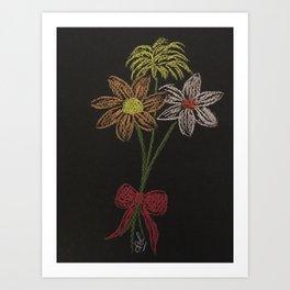 Flowers on blackpaper Art Print