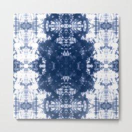 Shibori Tie Dye 2 Indigo Blue Metal Print
