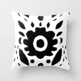 Black and White Bold Flower Pattern Throw Pillow