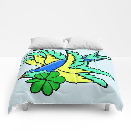 Swallow With Lucky Four Leaf Clover Comforters