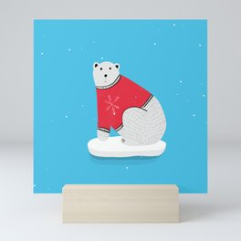 Sitting Polar Bear in Christmas Sweater Mini Art Print