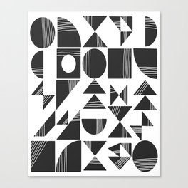 Shape and Line in Black and White Canvas Print