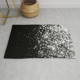 Silver Gray Black Glitter #3 (Faux Glitter - Photography) #shiny #decor #art #society6 Rug