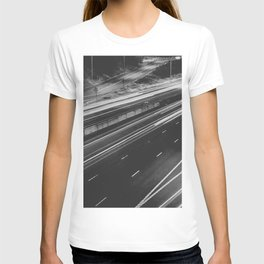 Seattle at Night - Black and White T-shirt