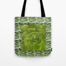 COLLAGE GRAY-GREEN  SUCCULENTS  MODERN DESIGN Tote Bag
