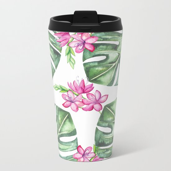 Tropical Flowers And Monstera #society6 Metal Travel Mug