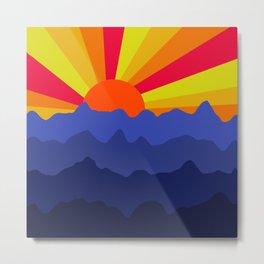 Purple Mountain Sunrise Minimal Landscape  Metal Print