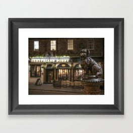 Bobby Greyfriars dog statue at night Edinburgh Scotland pub Framed Art Print