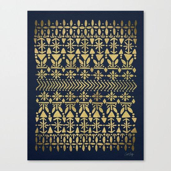 Norwegian Pattern – Gold on Navy Canvas Print