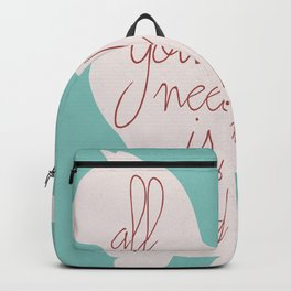Shabby chic illustration - all you need is love (and a CAT), typography, interior design, cats, love Backpack