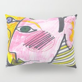 """Atrocious Face"" - a scan of artwork By Dorothy Messenger, copyrighted Pillow Sham"