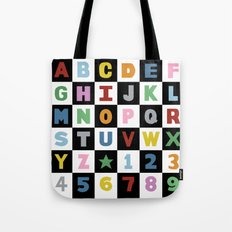 Alphabet Black and White with Colour Tote Bag