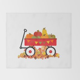 Fall Pumpkins In A Wagon Throw Blanket