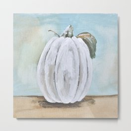 Tall white pumpkin Metal Print