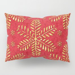 DP044-2 Gold snowflakes on red Pillow Sham
