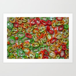 Sliced red and green chili peppers Art Print