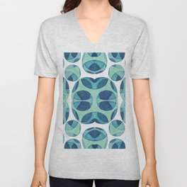 Circle web of connectiveness pattern in mint & navy Unisex V-Neck