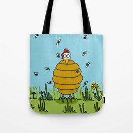 Eglantine la poule (the hen) dressed up as a hive. Tote Bag