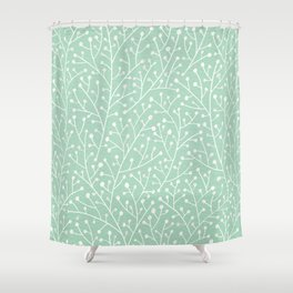 Mint Berry Branches Shower Curtain