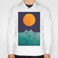 landscape Hoodies featuring The ocean, the sea, the wave - night scene by Picomodi