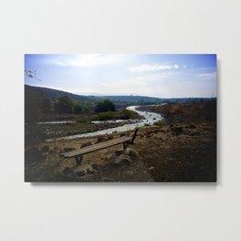 River Bench Metal Print