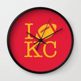 I love Kansas City Football Wall Clock