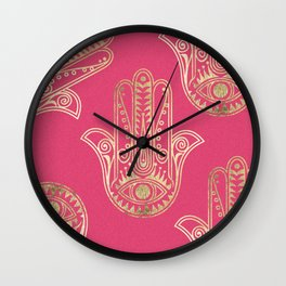 Neon pink faux gold inspirational Hamsa hand of Fatima Wall Clock
