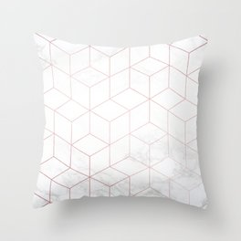 Rose Gold Geometric White Mable Cubes Throw Pillow