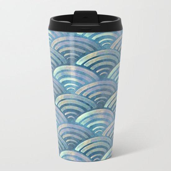Colorful fish scales pattern Metal Travel Mug