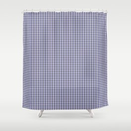 USA Flag Blue and White Gingham Checked Shower Curtain
