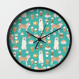 Akita coffee pattern akitas dog breed pet portrait by pet friendly turquoise Wall Clock