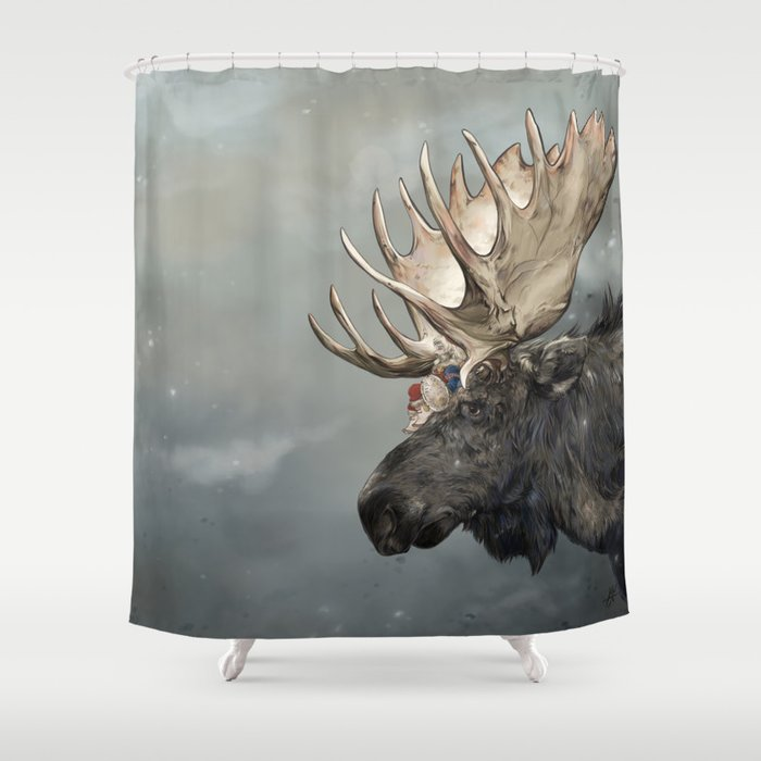 Eerik The Sami Shaman And Hirvi Moose Shower Curtain By Laurelilyvale
