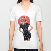 polkadot V-neck T-shirts featuring Polkadot by Hagara Stuff