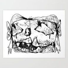 Weird Girl Head Art Print