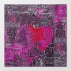 Passion red purple heart mixed media art Canvas Print