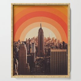 New York's Famous Sunset - Retro City Serving Tray