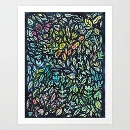 Rainbow Leaves Art Print