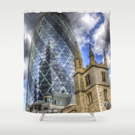 The Gherkin and St Andrew Undershaft Church Shower Curtain