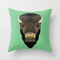buffalo Throw Pillows featuring Buffalo by Alysha Dawn
