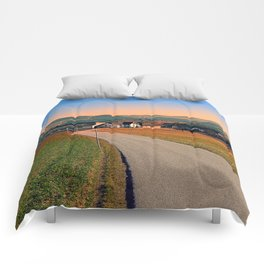 Country road into beautiful panorama | landscape photography Comforters