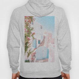 Santorini Greece Mamma Mia Pink House Travel Photography Hoody