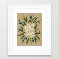 the mountains are calling Framed Art Prints featuring Mountains Calling – Kraft by Cat Coquillette