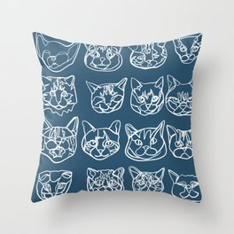 Blue and White Silly Kitty Faces Throw Pillow